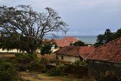 Koloniale Britse huizen op kust Stock Foto's