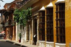 Koloniale straat in Cartagena Stock Foto