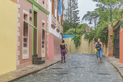 Koloniale Straat Las Penas in Guayaquil Ecuador Stock Fotografie