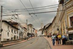 Koloniale straten van Quito stock afbeeldingen