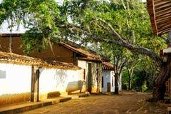 Kolonialhäuser mit Bäumen in Barichara, Kolumbien lizenzfreie stockfotos