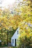 Kolonialhaus mit Herbstlaub Lizenzfreies Stockfoto