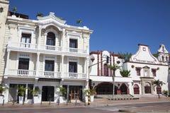 Kolonialni budynki przy Cartagena De Indias Obraz Stock