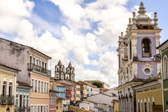 Kolonialny architektura widok Salvador miasto w Bahia Brazylia zdjęcie stock