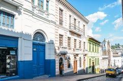 Kolonialstilarchitektur in der historischen Mitte von Quito, Ecuador stockfoto