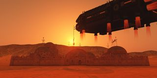 Kolonie auf Mars lizenzfreie stockfotografie