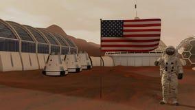 Kolonie op Mars Astronaut die de Amerikaanse vlag groeten Het onderzoeken van Opdracht aan Mars Futuristische Kolonisatie en Ruim royalty-vrije illustratie