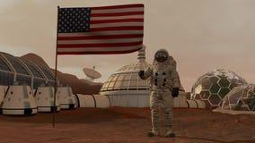 Kolonie op Mars Astronaut die de Amerikaanse vlag groeten Het onderzoeken van Opdracht aan Mars Futuristische Kolonisatie en Ruim stock illustratie