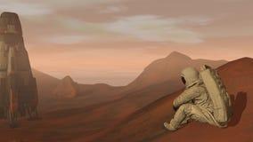 Kolonie op Mars Astronautenzitting op Mars en het bewonderen van het landschap Het onderzoeken van Opdracht aan Mars Futuristisch stock videobeelden