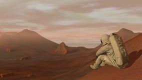 Kolonie op Mars Astronautenzitting op Mars en het bewonderen van het landschap Het onderzoeken van Opdracht aan Mars Futuristisch stock illustratie