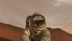 Kolonie op Mars Astronautenzitting op Mars en het bewonderen van het landschap Het onderzoeken van Opdracht aan Mars Futuristisch vector illustratie