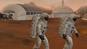 Kolonie op Mars Twee astronauten die op de oppervlakte lopen van brengt in de war Het onderzoeken van opdracht brengt in de war F vector illustratie
