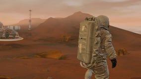 Kolonie op Mars Twee astronauten die op de oppervlakte lopen van brengt in de war Het onderzoeken van opdracht brengt in de war F royalty-vrije illustratie