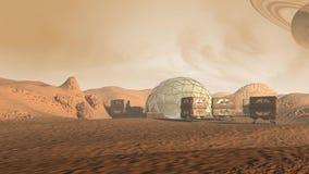 Kolonie op Mars zoals rode planeet stock illustratie
