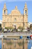 Koloniinvånarekyrka på La Valletta på Malta Arkivbilder