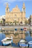 Koloniinvånarekyrka på La Valletta på Malta Arkivbild
