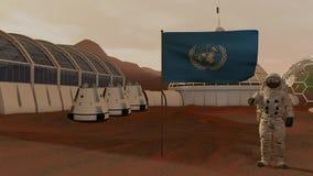 Kolonin f?rd?rvar p? Astronaut som saluterar FN-flaggan Den undersökande beskickningen till fördärvar Futuristisk kolonisation oc royaltyfri illustrationer