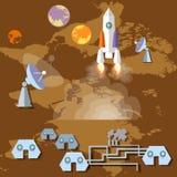 Kolonisatie van Mars: raket, ruimteschip, spaceport, planeten Stock Afbeeldingen