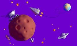 Kolonisation av fördärvar Fördärvar roveren söker efter vatten, en astron royaltyfri illustrationer