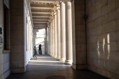 Kolonnade der Säulenhalle Pushkin-Landesmuseums stockbilder