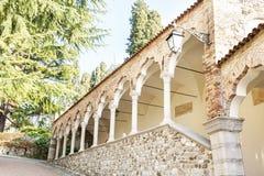 Kolonnade vom des Lipomannos Säulengang (im Jahre 1486 errichtet) Udine Italien lizenzfreie stockbilder