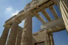 Kolonner av akropolen i Aten, Grekland Arkivbild