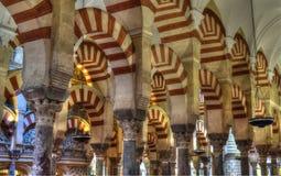 Kolonner av bönkorridoren, Cordoba, Andalusia arkivbild