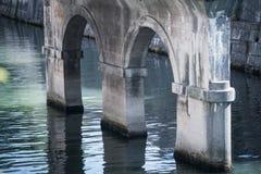 Kolonner av den gamla stenbron över floden Royaltyfri Fotografi
