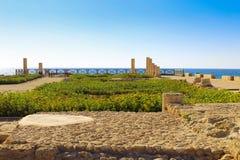 Kolonner av Roman Villa i Caesarea, Israel Fotografering för Bildbyråer