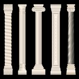 Kolonner i antik stil, barock, stuckatur, marmor stock illustrationer