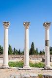 Kolonner på den forntida platsen av Asclepeion i den Kos ön, Grekland fotografering för bildbyråer