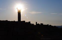 kolonnsilhouette Arkivfoto