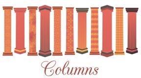 Kolonnuppsättning Dorisk romersk stil Uppsättningen av kolonner med en modell vektor Royaltyfria Bilder