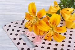 Kolorów żółtych kwiatów leluja z łękiem i prezent zdojesteśmy Obraz Stock