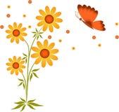 Kolorów żółtych kwiaty i motyl, kwiat ilustracja, Biały tło Obrazy Stock