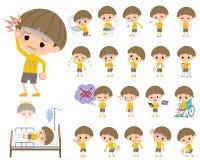 Kolorów żółtych ubrania Kiwali chłopiec O chorobie Zdjęcie Stock