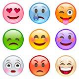 kolorów łatwych emoticons ilustracyjny setu wektor Obrazy Royalty Free