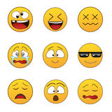 kolorów łatwych emoticons ilustracyjny setu wektor Zdjęcie Stock