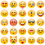 kolorów łatwych emoticons ilustracyjny setu wektor Set Emoji Obrazy Royalty Free