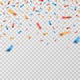Kolorów confetti Spada confetti faborki odizolowywający Partyjny świętowanie, karnawałowa niespodzianka i fiesta wektoru tło, ilustracja wektor