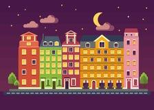 Kolorów domy na nocy Obraz Royalty Free
