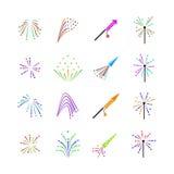 Kolorów fajerwerków wektoru set Obraz Royalty Free