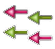Kolorów kursory lub strzałkowaci guziki Fotografia Stock