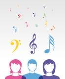 Kolorów muzyczni ludzie ilustracja wektor