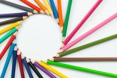 Kolorów ołówki jako tło Obrazy Royalty Free