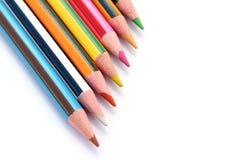 kolorów ołówki ustawiają biel Fotografia Royalty Free