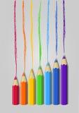 Kolorów ołówki w surowym Zdjęcie Royalty Free