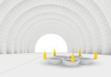 Kolorów płomienie i spoczynkowy biały diya w 3d Obrazy Royalty Free