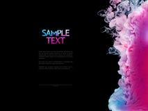 Kolorów pluśnięcia odizolowywający na czarnym tle atrament Abstrakcjonistyczna farba w wodnym ruchu Wirować kolorowe krople Zdjęcie Royalty Free