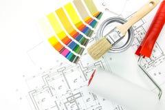 Kolorów swatches, muśnięcie, farba garnek, fotografia stock